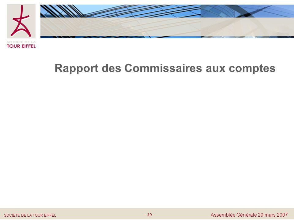 Rapport des Commissaires aux comptes