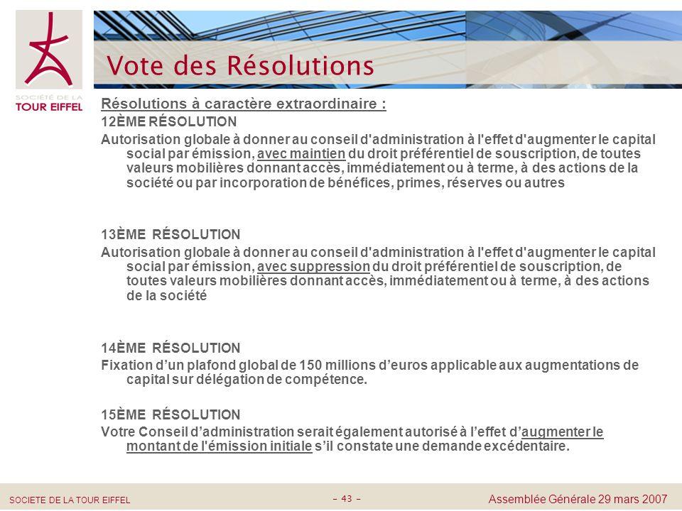 Vote des Résolutions Résolutions à caractère extraordinaire :