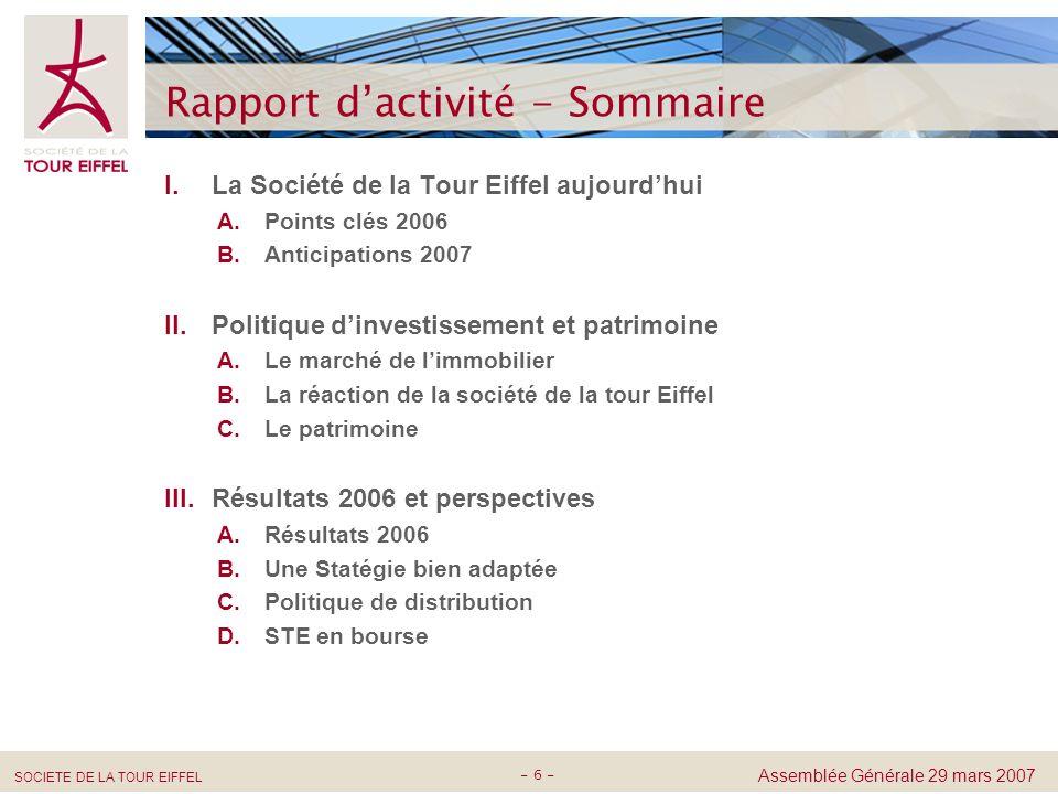 Rapport d'activité - Sommaire