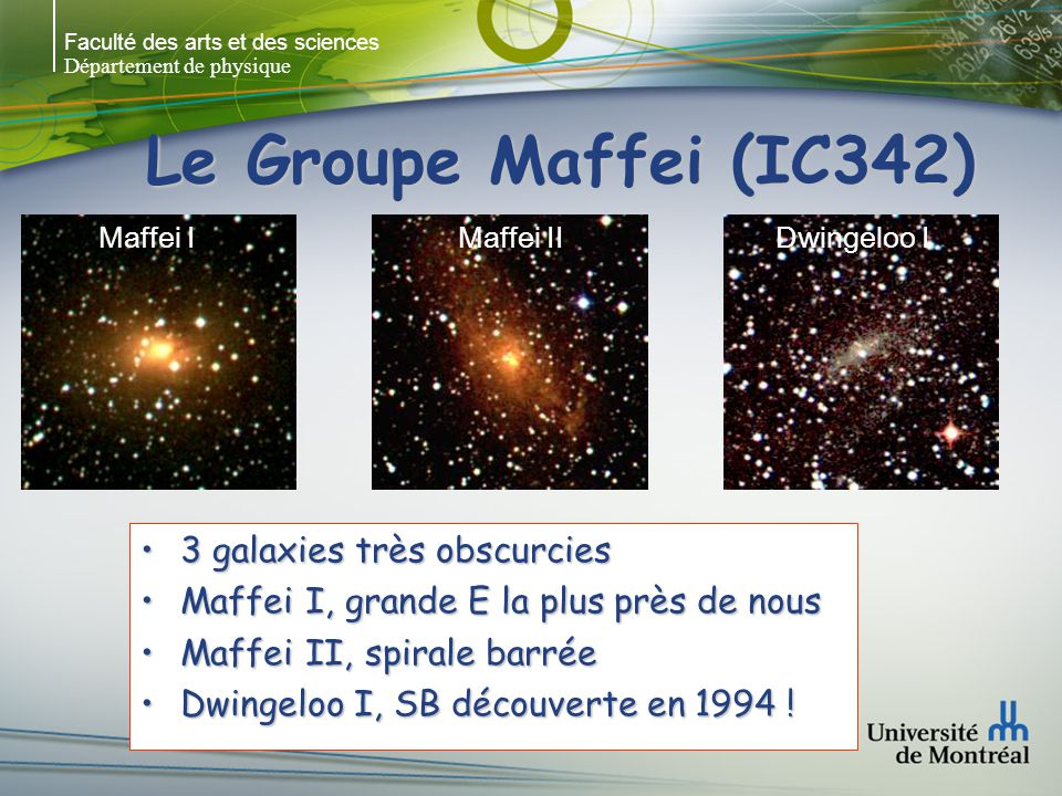 Le Groupe Maffei (IC342) 3 galaxies très obscurcies