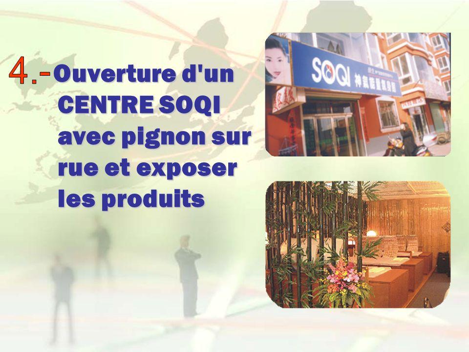 Ouverture d un CENTRE SOQI avec pignon sur rue et exposer les produits