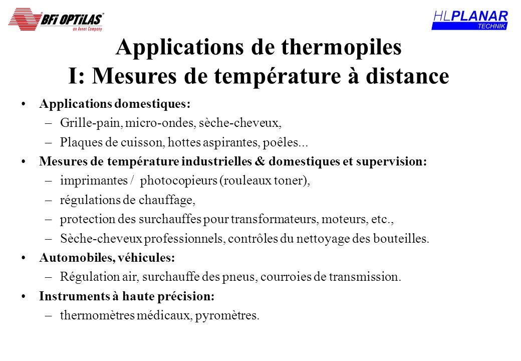 Applications de thermopiles I: Mesures de température à distance