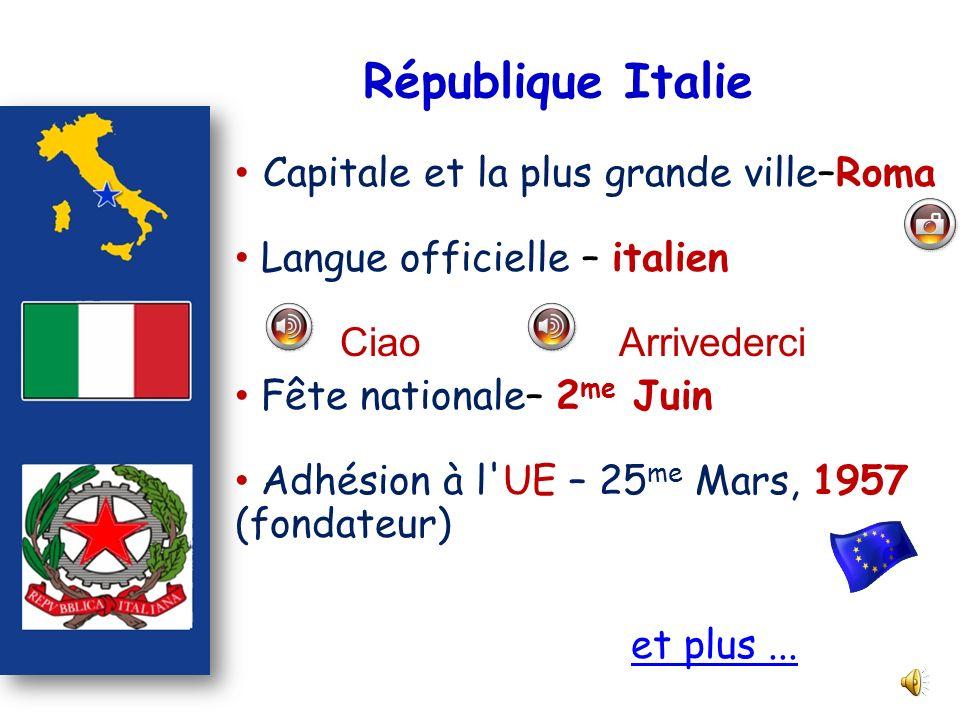 République Italie Capitale et la plus grande ville–Roma