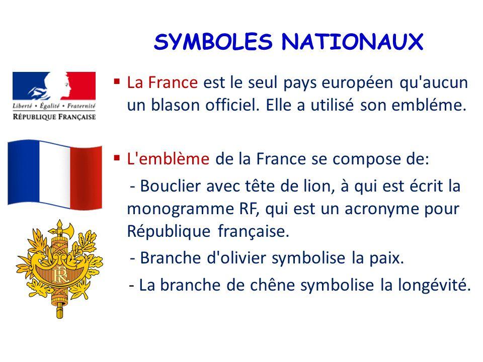 SYMBOLES NATIONAUX La France est le seul pays européen qu aucun un blason officiel. Elle a utilisé son embléme.