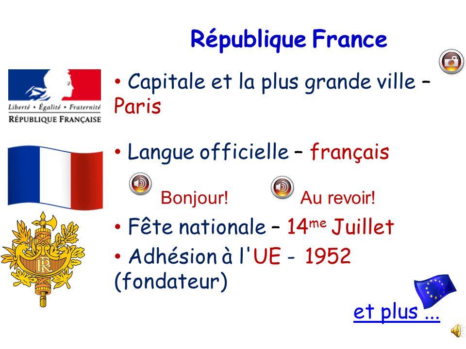 République France Capitale et la plus grande ville – Paris