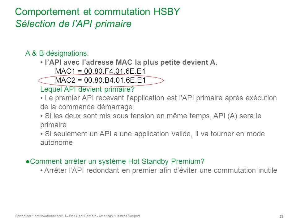 Comportement et commutation HSBY Sélection de l'API primaire