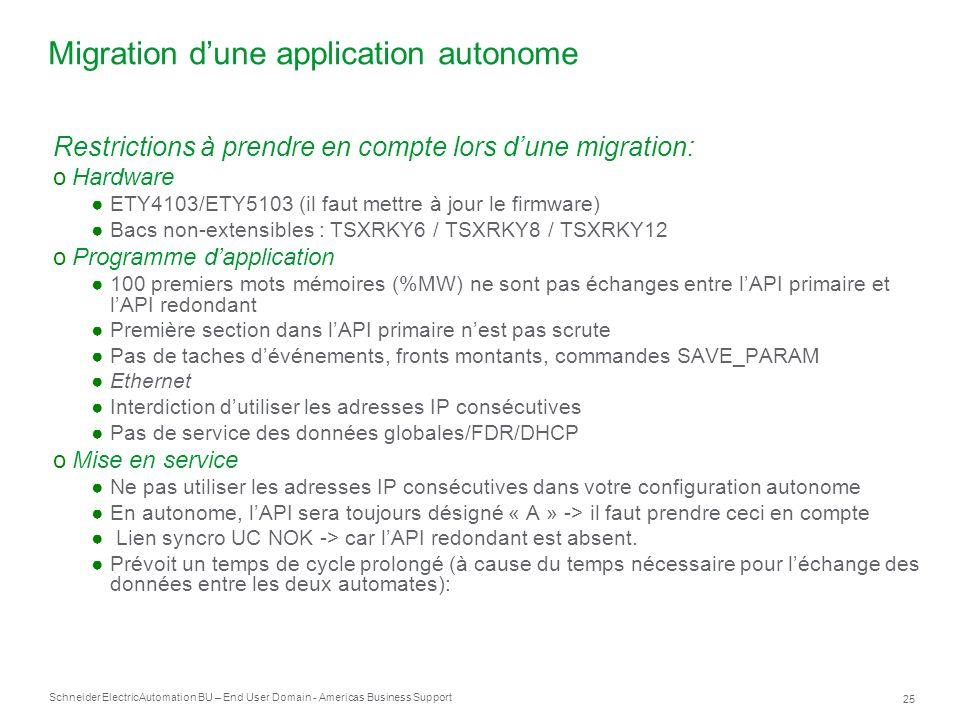 Migration d'une application autonome