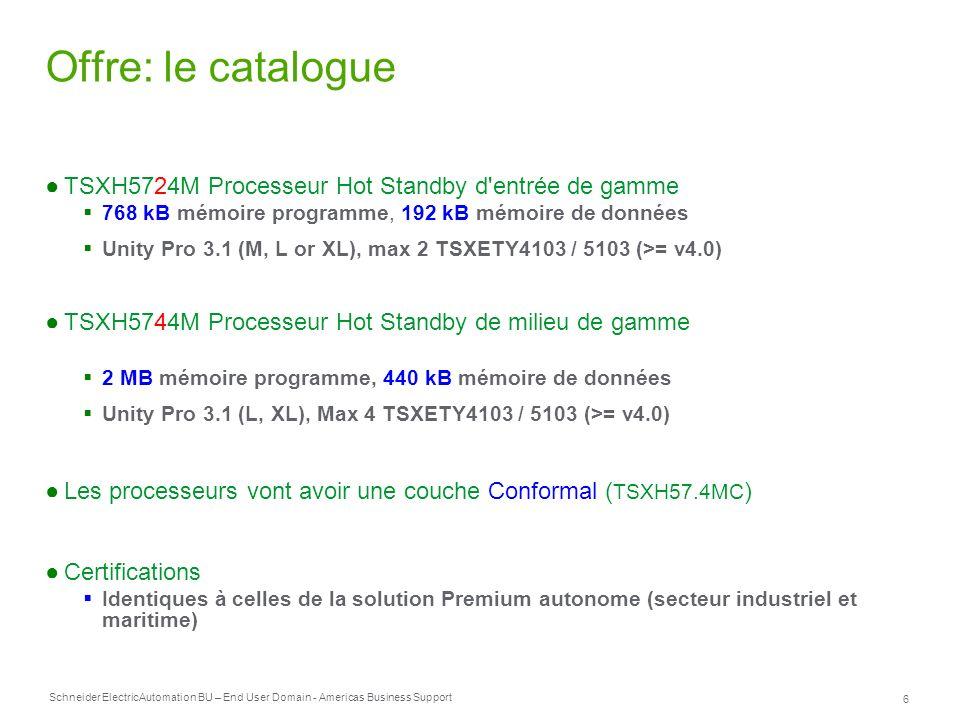 Offre: le catalogue TSXH5724M Processeur Hot Standby d entrée de gamme
