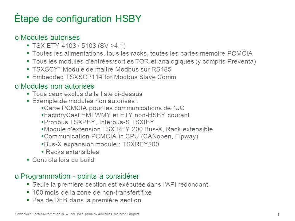 Étape de configuration HSBY
