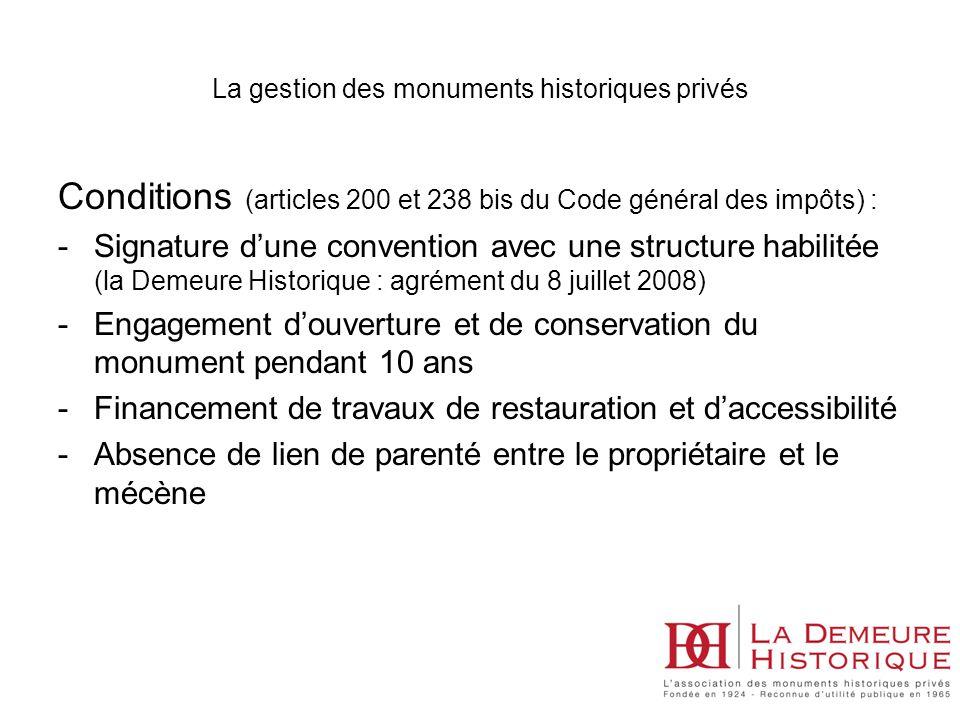 La gestion des monuments historiques privés