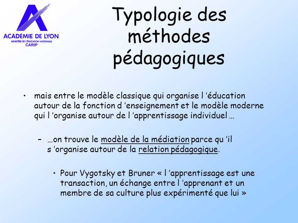 Typologie des méthodes pédagogiques