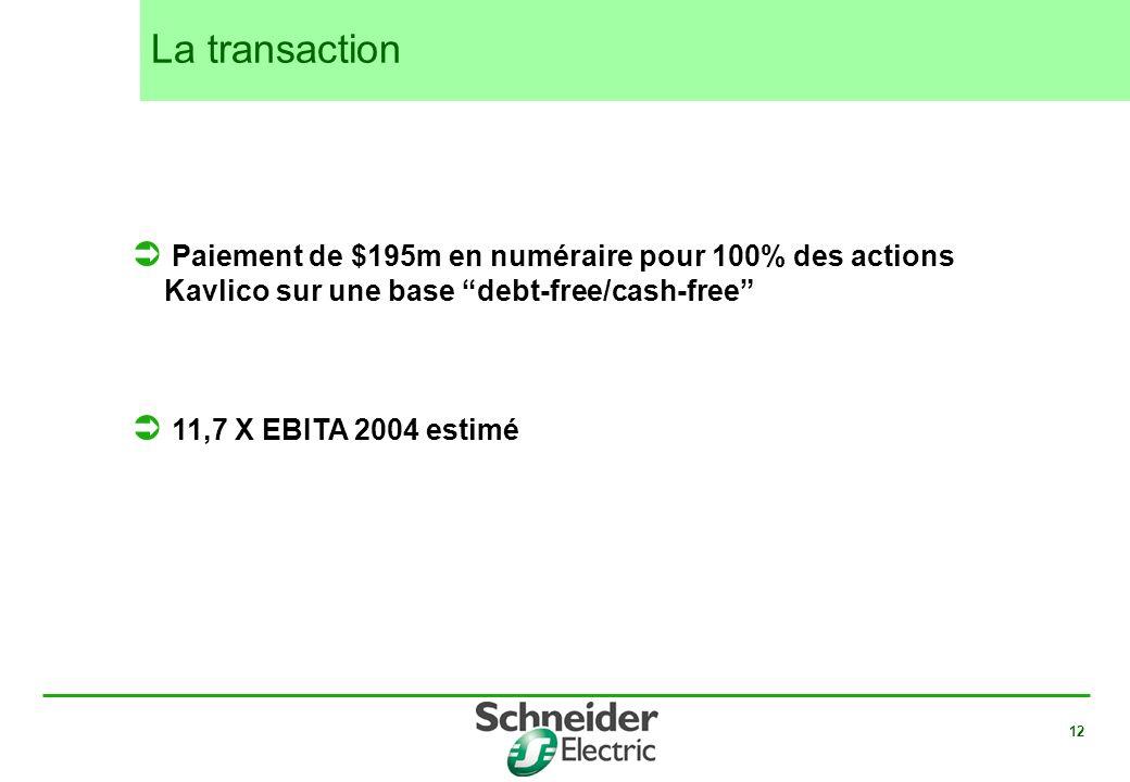 La transaction Paiement de $195m en numéraire pour 100% des actions Kavlico sur une base debt-free/cash-free