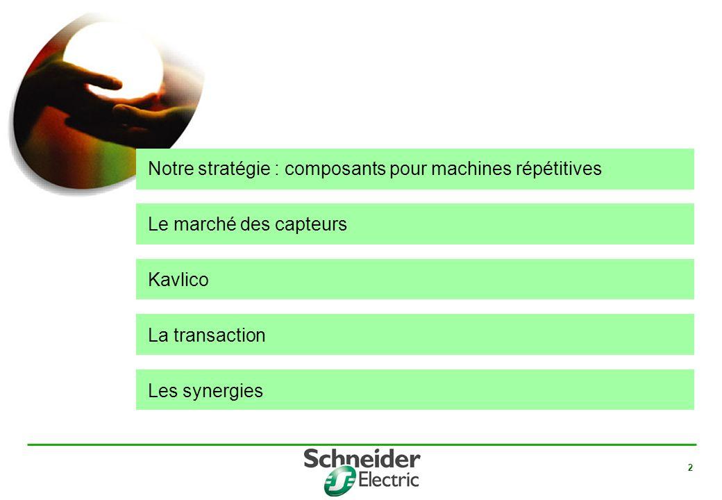Notre stratégie : composants pour machines répétitives