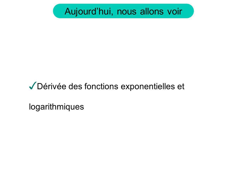 Dérivée des fonctions exponentielles et logarithmiques