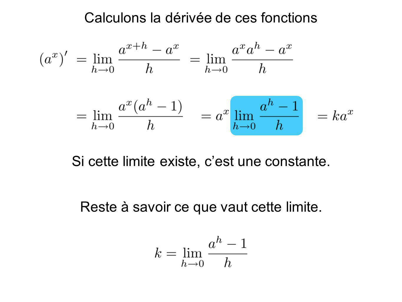 Calculons la dérivée de ces fonctions