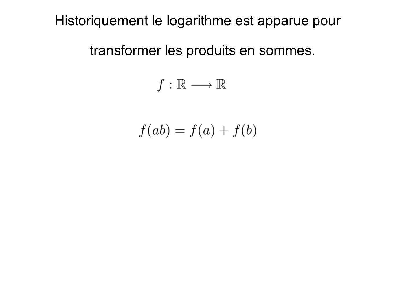 Historiquement le logarithme est apparue pour
