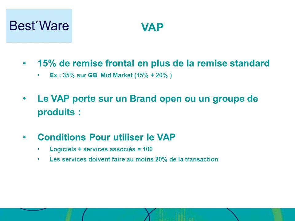 VAP 15% de remise frontal en plus de la remise standard