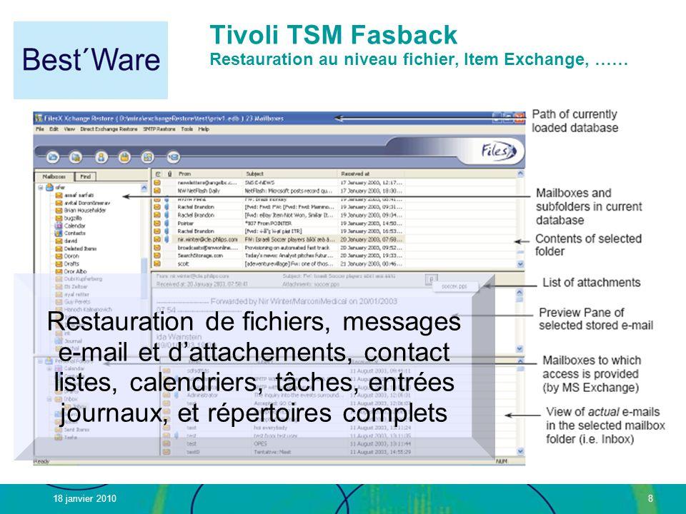 Tivoli TSM Fasback Restauration au niveau fichier, Item Exchange, ……
