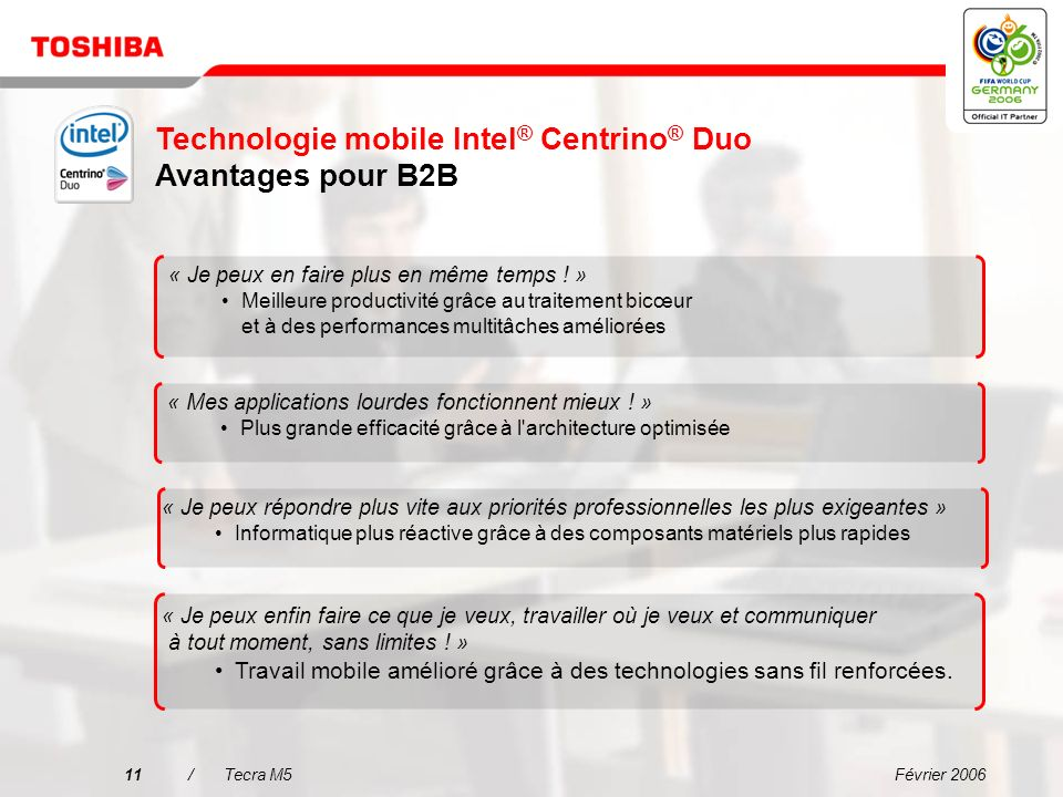 Technologie mobile Intel® Centrino® Duo Avantages pour B2B