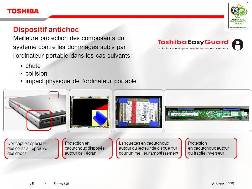 Dispositif antichoc Meilleure protection des composants du système contre les dommages subis par l'ordinateur portable dans les cas suivants :
