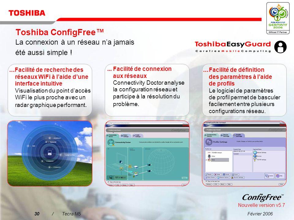 Toshiba ConfigFree™ La connexion à un réseau n'a jamais été aussi simple !