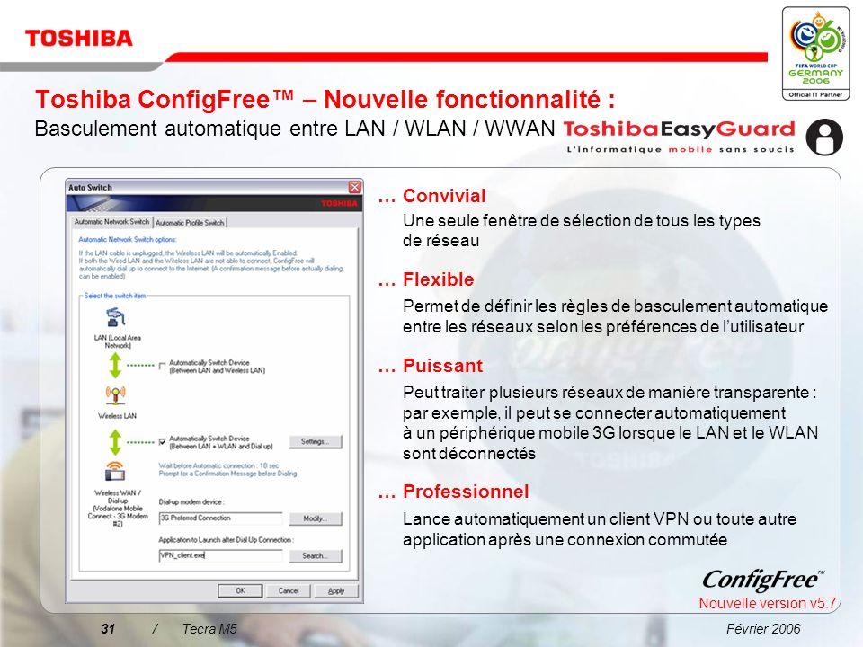 Toshiba ConfigFree™ – Nouvelle fonctionnalité : Basculement automatique entre LAN / WLAN / WWAN