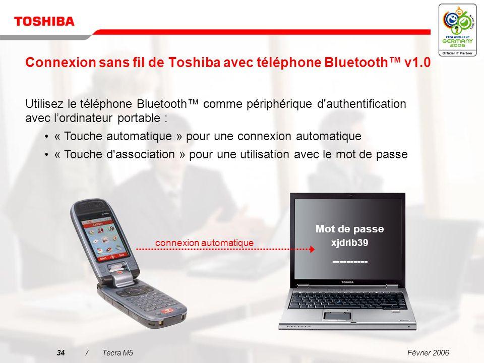 Connexion sans fil de Toshiba avec téléphone Bluetooth™ v1.0
