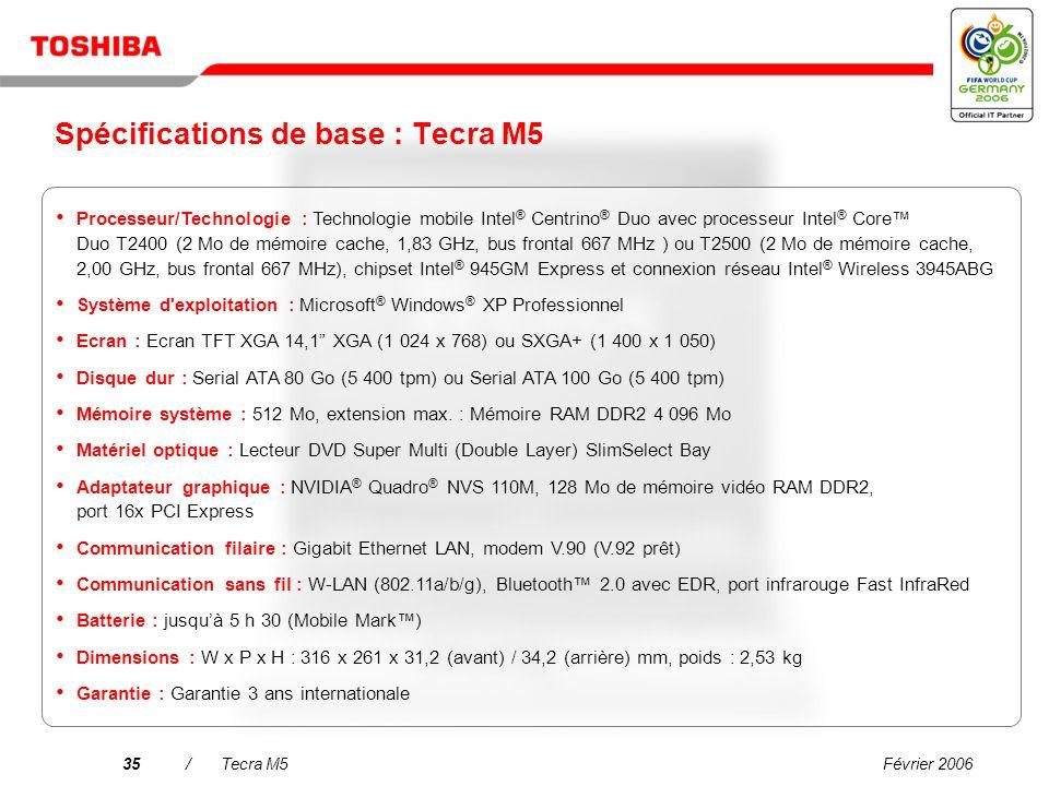 Spécifications de base : Tecra M5