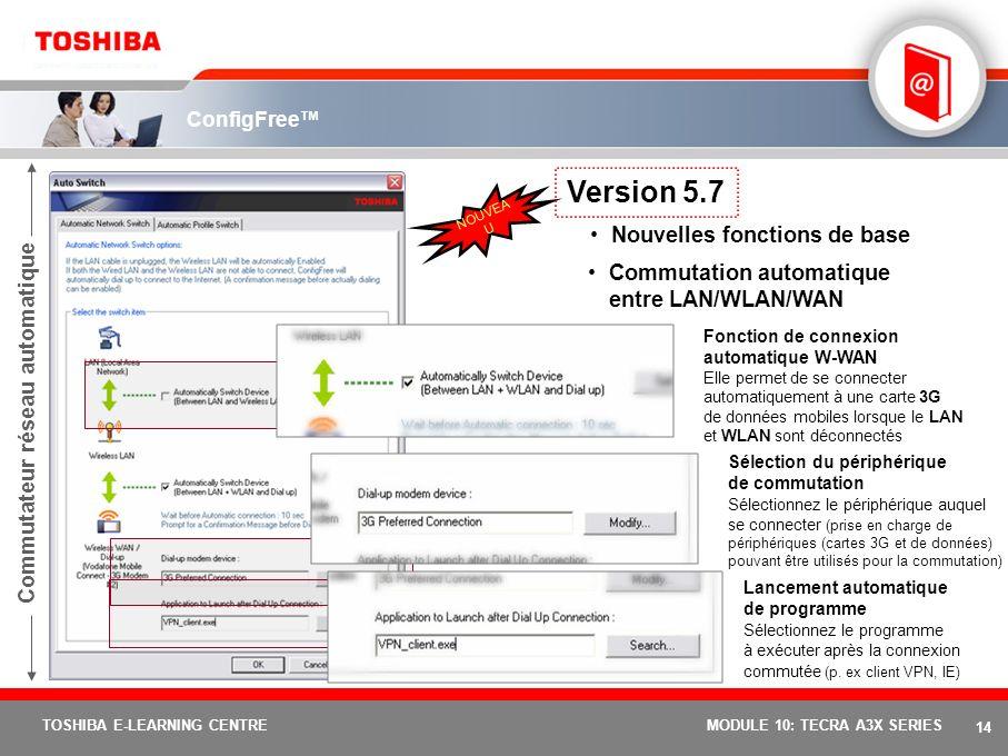 Version 5.7 Nouvelles fonctions de base