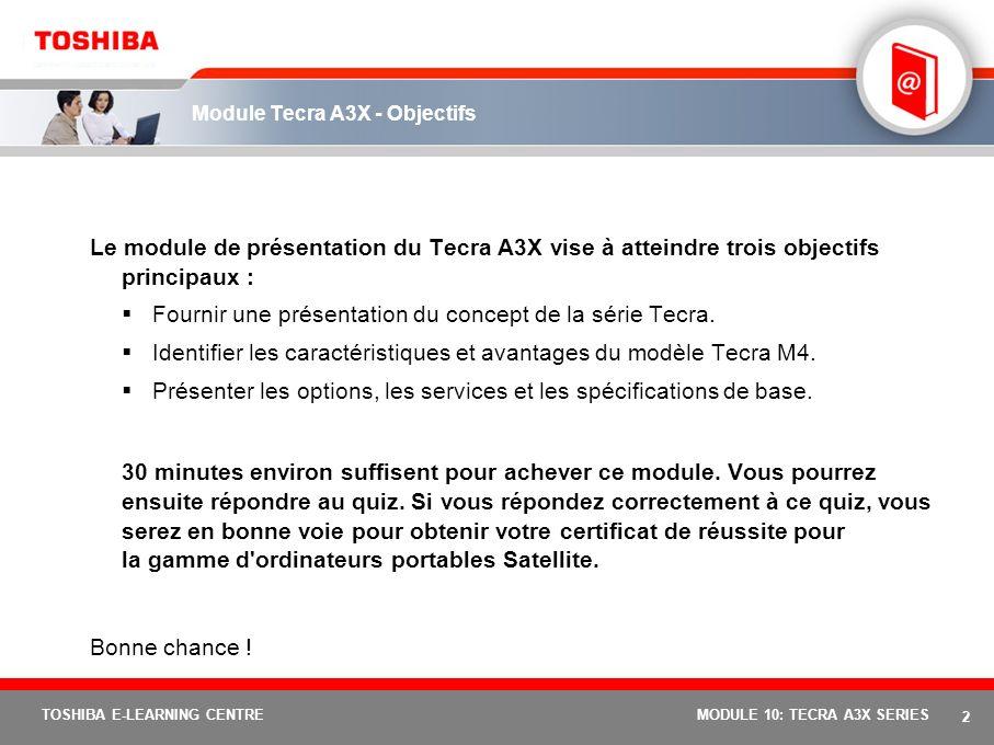 Module Tecra A3X - Objectifs