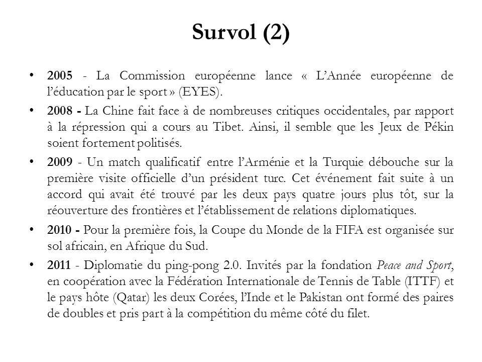 Survol (2) 2005 - La Commission européenne lance « L'Année européenne de l'éducation par le sport » (EYES).