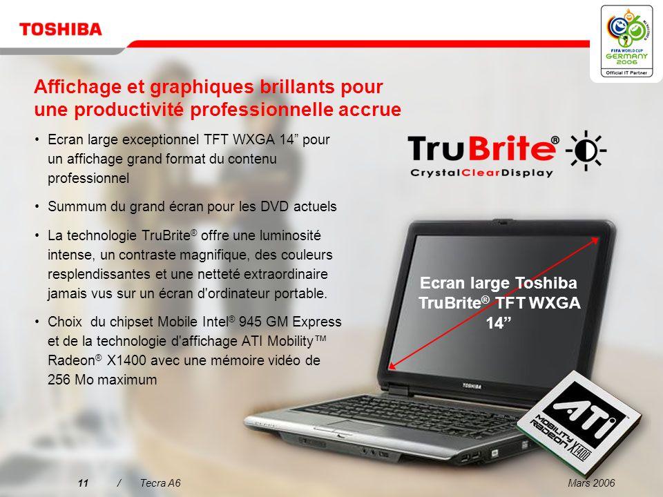 Ecran large Toshiba TruBrite® TFT WXGA 14