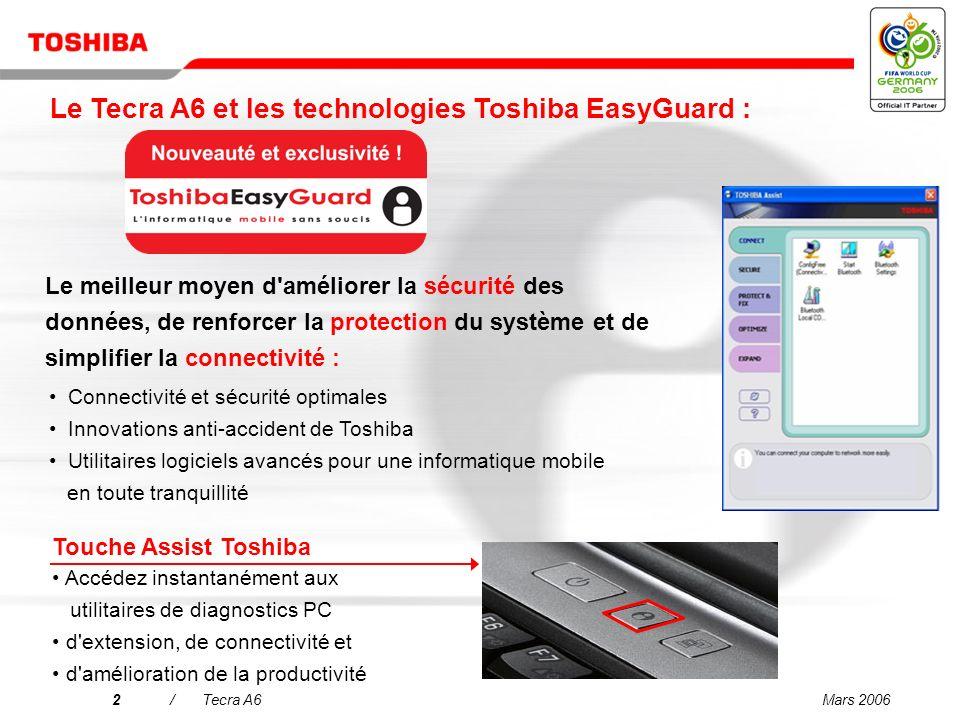Le Tecra A6 et les technologies Toshiba EasyGuard :