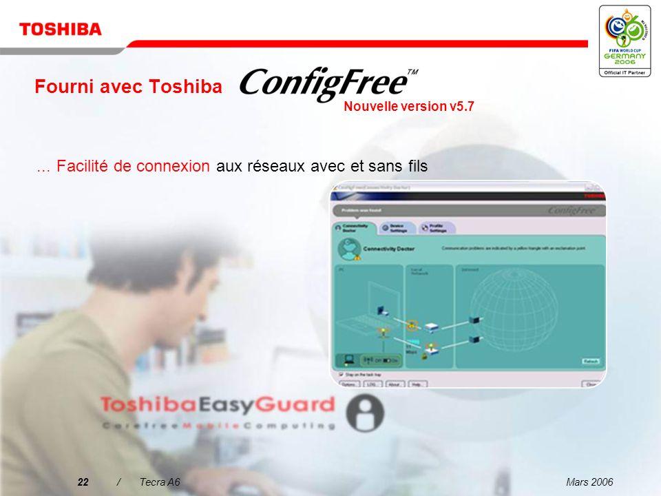 Fourni avec ToshibaNouvelle version v5.7. ... Facilité de connexion aux réseaux avec et sans fils. 22 / Tecra A6.