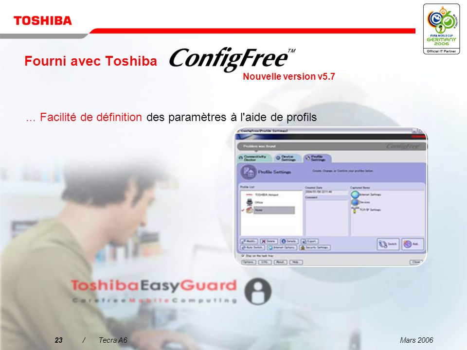 Fourni avec ToshibaNouvelle version v5.7. ... Facilité de définition des paramètres à l aide de profils.
