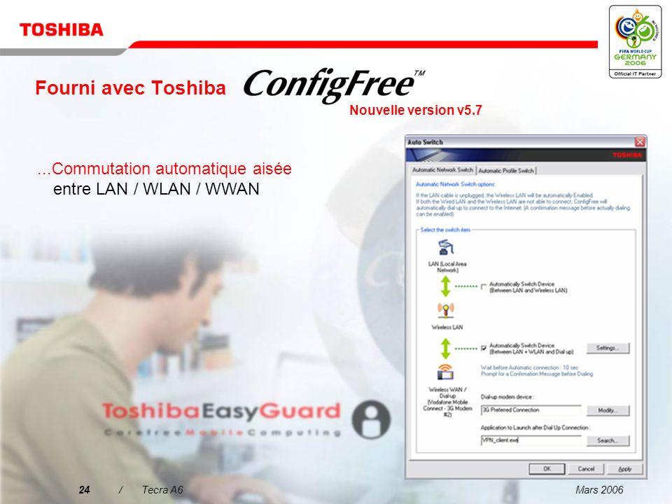 Fourni avec ToshibaNouvelle version v5.7. ...Commutation automatique aisée entre LAN / WLAN / WWAN.