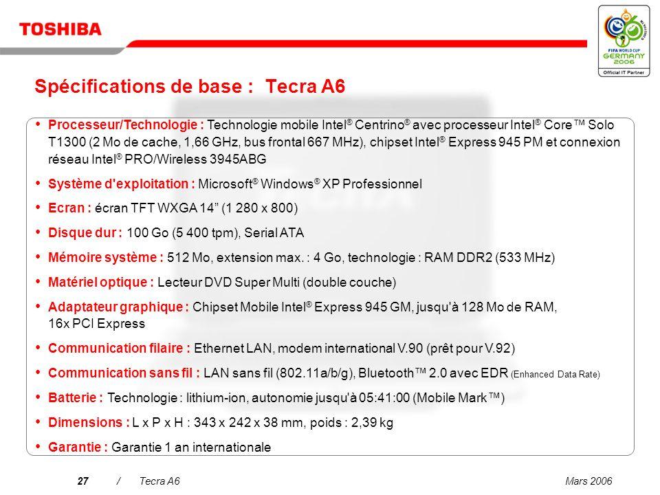 Spécifications de base : Tecra A6