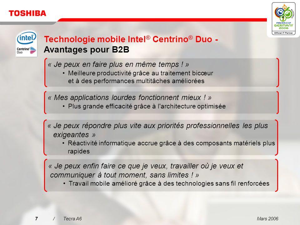 Technologie mobile Intel® Centrino® Duo - Avantages pour B2B