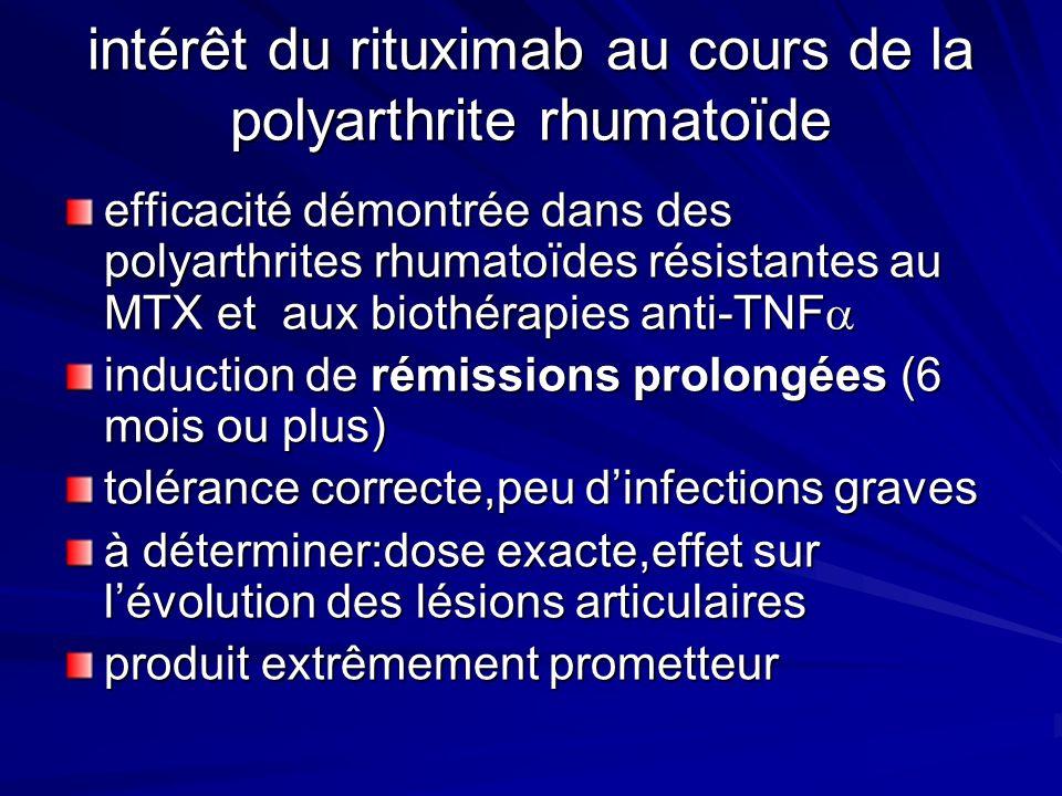 intérêt du rituximab au cours de la polyarthrite rhumatoïde