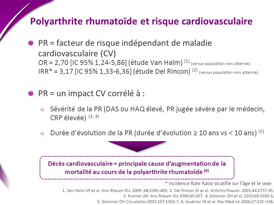 Polyarthrite rhumatoïde et risque cardiovasculaire