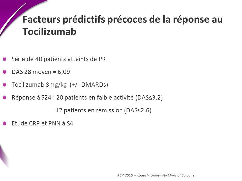 Facteurs prédictifs précoces de la réponse au Tocilizumab