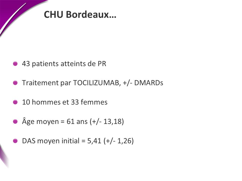 CHU Bordeaux… 43 patients atteints de PR