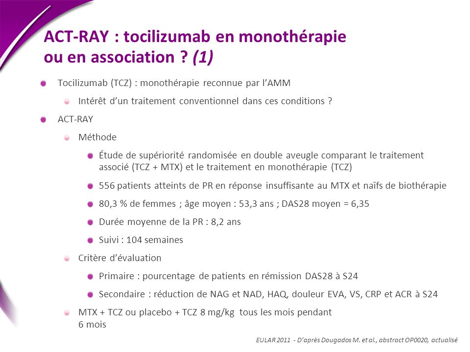ACT-RAY : tocilizumab en monothérapie ou en association (1)