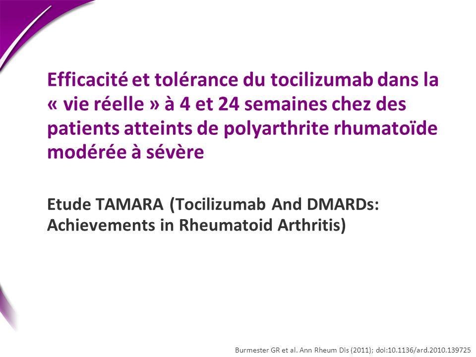 Efficacité et tolérance du tocilizumab dans la « vie réelle » à 4 et 24 semaines chez des patients atteints de polyarthrite rhumatoïde modérée à sévère