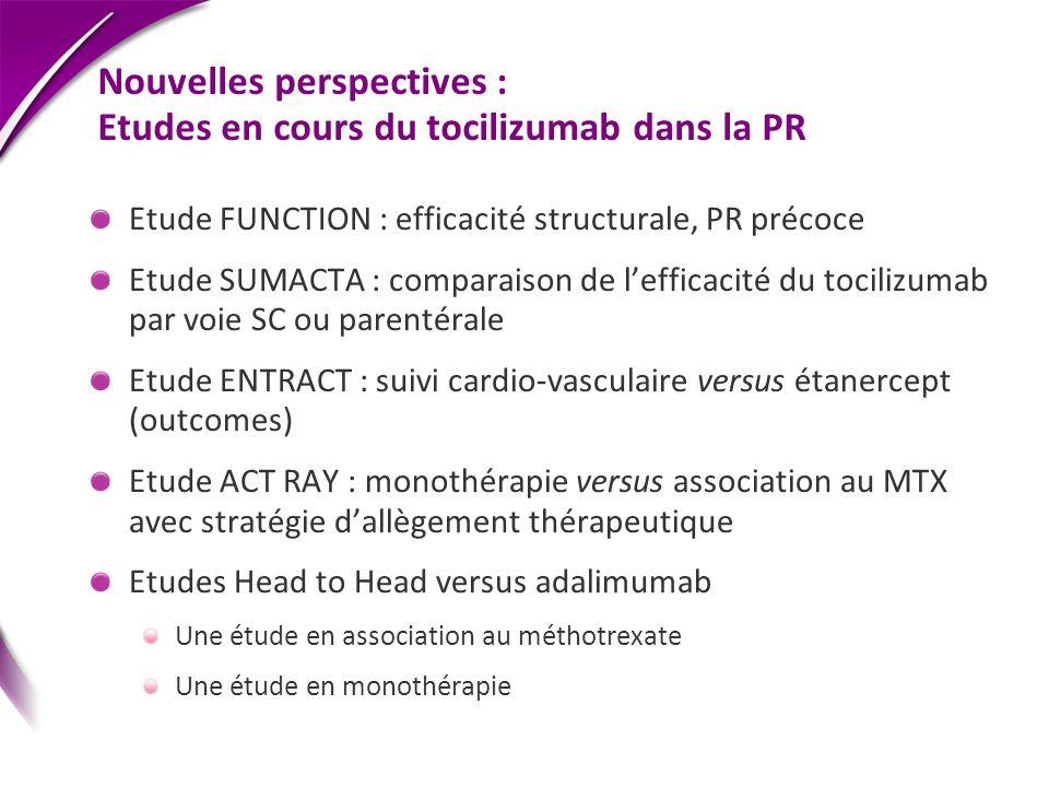 Nouvelles perspectives : Etudes en cours du tocilizumab dans la PR