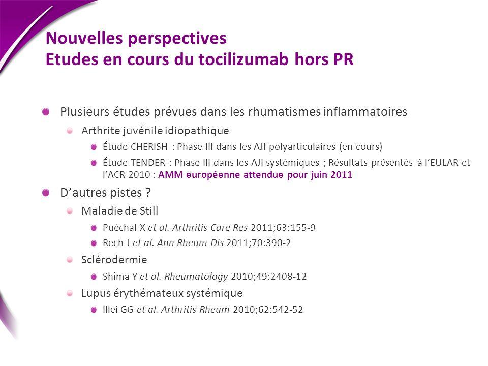 Nouvelles perspectives Etudes en cours du tocilizumab hors PR