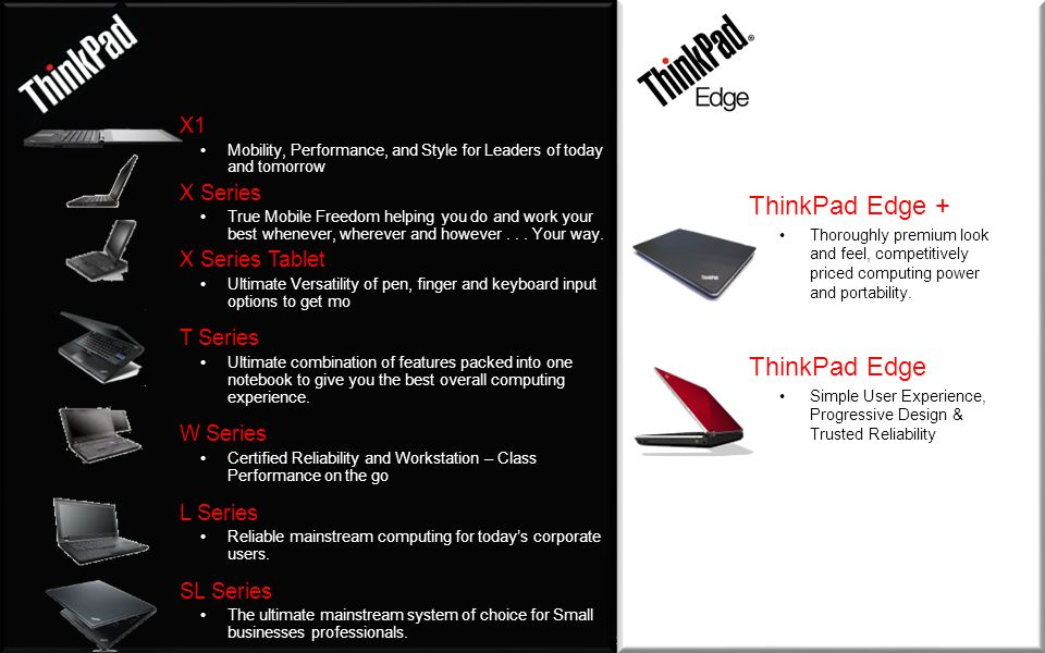 ThinkPad Edge + ThinkPad Edge X1 X Series X Series Tablet T Series