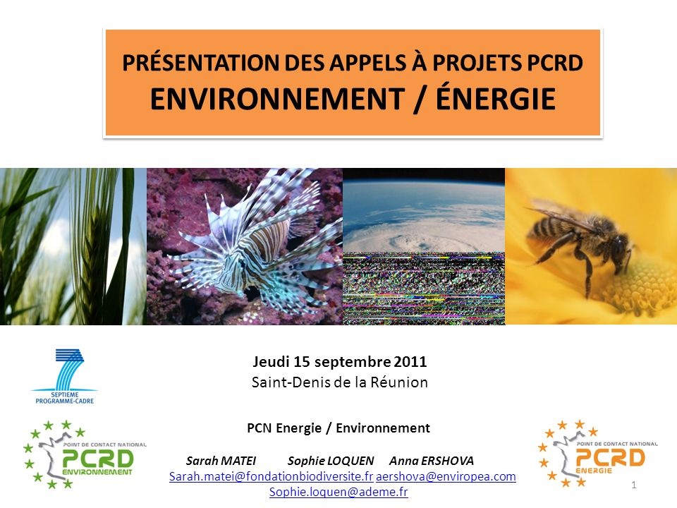 Présentation des appels à projets PCRD Environnement / énergie