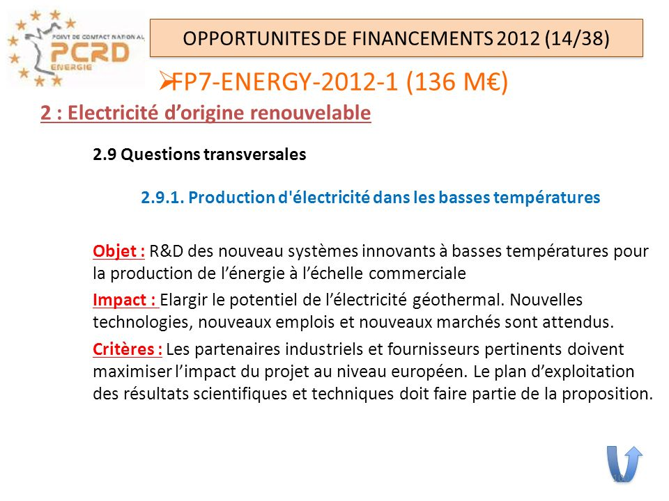 OPPORTUNITES DE FINANCEMENTS 2012 (14/38)