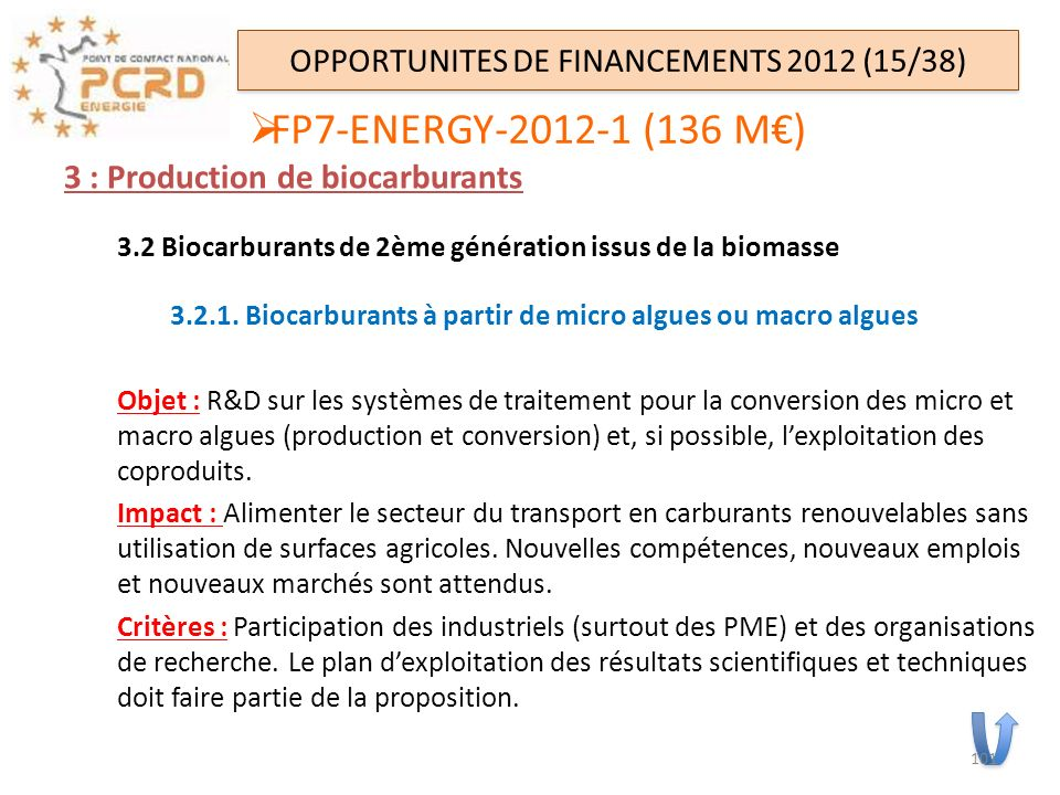OPPORTUNITES DE FINANCEMENTS 2012 (15/38)